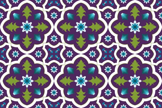 Kolorowy fioletowy marokański etniczne geometryczne płytki kwiatowe sztuki orientalne bezszwowe tradycyjny wzór. projekt tła, dywan, tło tapety, odzież, opakowanie, batik, tkanina. wektor.