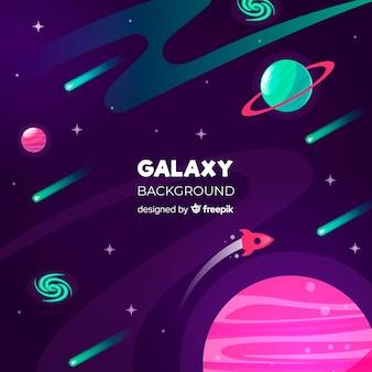 Kolorowy galaktyki tło z płaskim projektem