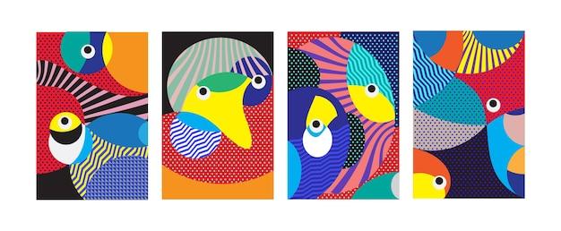Kolorowy geometryczny plemienny i curvy deseniowy tło