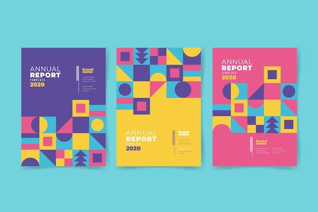 Kolorowy geometryczny raport roczny