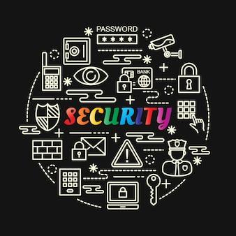 Kolorowy gradient bezpieczeństwa z zestaw ikon linii