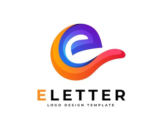 Kolorowy gradient e list logo projekt