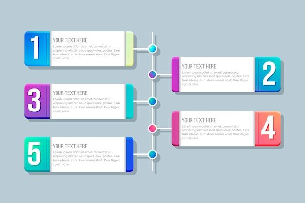 Kolorowy gradient infographic z rozmową teda