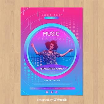 Kolorowy gradientowy festiwal muzyki plakat z wizerunkiem
