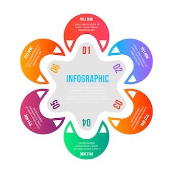 Kolorowy gradientowy infographic jako kwiat