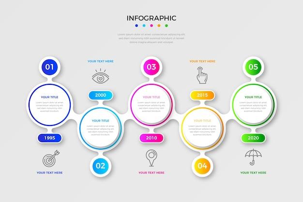 Kolorowy gradientowy szablon osi czasu infografiki