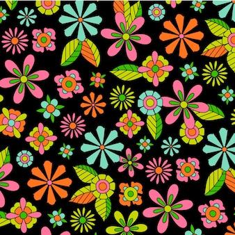 Kolorowy, groovy kwiatowy wzór