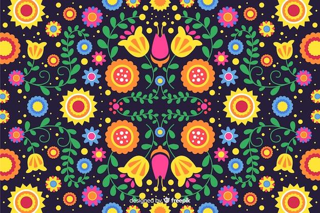 Kolorowy hafciarski meksykański kwiecisty tło