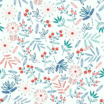 Kolorowy haft bezszwowy wzór z wolności małej kwiatów dekoraci wektoru ilustracją. ręcznie rysowane elementy. design do dekoracji wnętrz, mody, tkanin, opakowań, tapet i wszystkich odbitek