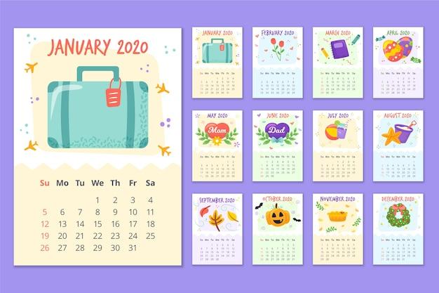 Kolorowy harmonogram kalendarza 2020