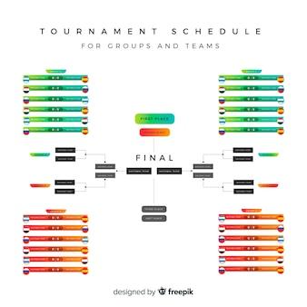 Kolorowy harmonogram turniejów o płaskiej konstrukcji