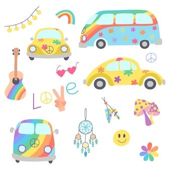 Kolorowy hipisowski autobus kempingowy, hipisowski żółty samochód i symbol pokoju w stylu boho.