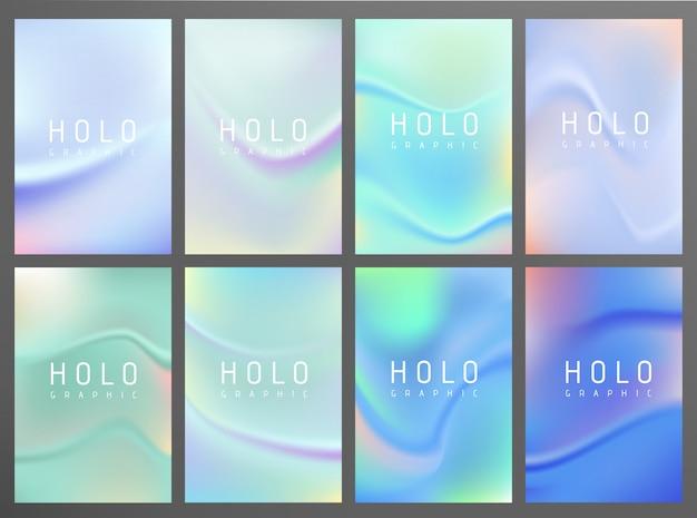Kolorowy holograficzny gradientowy tło projekta set