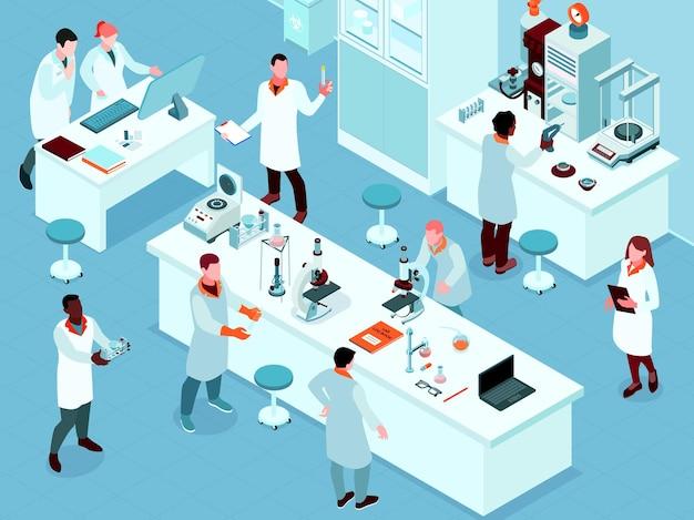 Kolorowy i izometryczny skład laboratorium naukowego z grupą naukowców na ilustracji w miejscu pracy