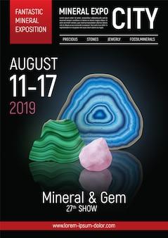 Kolorowy i realistyczny kamienny plakat z ekspozycją minerałów z fantastyczną ilustracją nagłówka ekspozycji minerałów