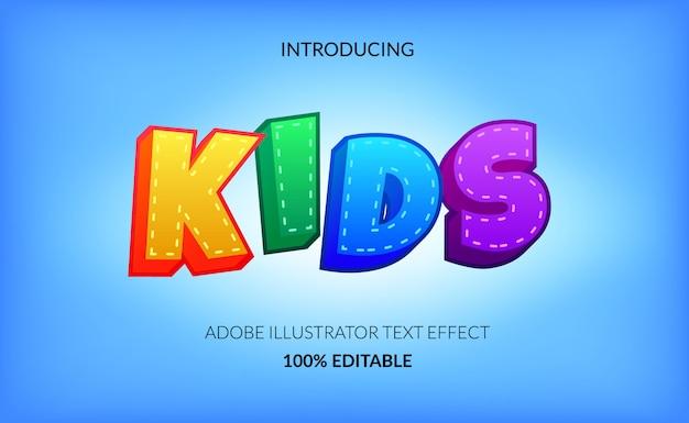 Kolorowy i zabawny edytowalny efekt tekstowy dla dzieci i dzieci. figlarny dekoracyjny i artystyczny