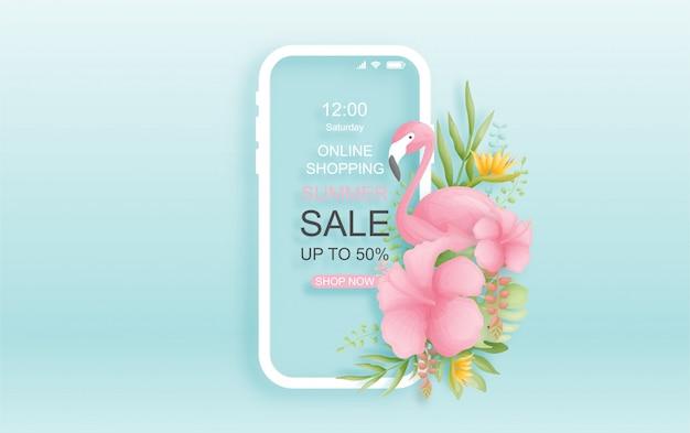 Kolorowy i żywy tropikalny projekt lato sprzedaż online z ptakiem, liśćmi palmowymi i kwiatami.