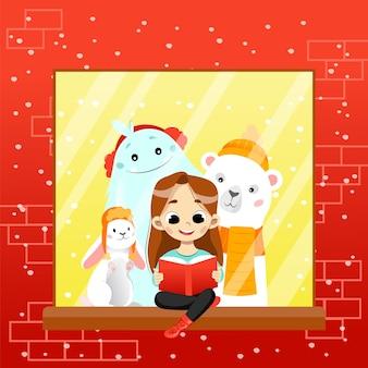 Kolorowy ilustracja gradientu w stylu cartoon płaski. skład wektora z uśmiechniętymi znakami patrząc w książkę. szczęśliwa dziewczyna postać czytająca bajkę siedząca na parapecie z fantastycznymi stworzeniami.