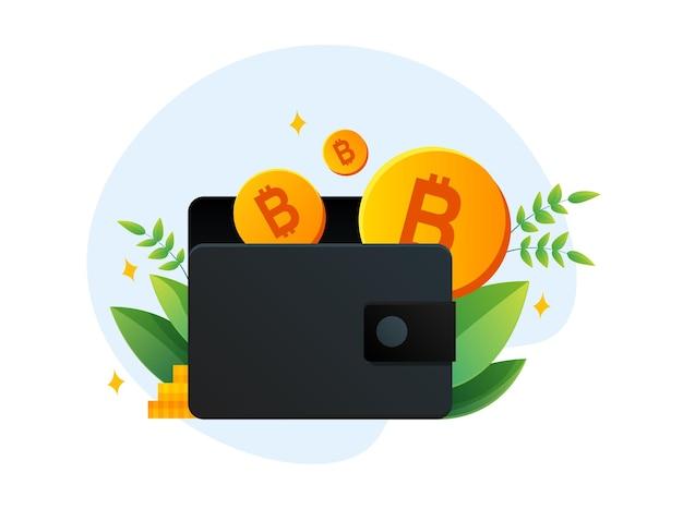 Kolorowy infografika wektor portfela ze złotym bitcoinem na logo koncepcji kryptowaluty na białym tle