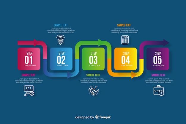 Kolorowy infographic kroków płaski projekt
