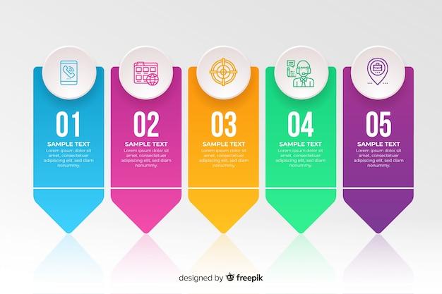 Kolorowy infographic szablonu płaski projekt