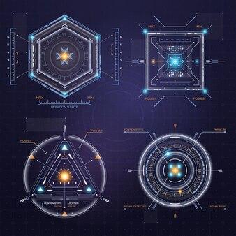 Kolorowy interfejs użytkownika hud elementy ekranu docelowego techno