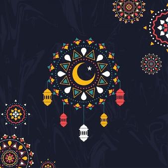 Kolorowy islamski bezszwowy wzór dekorował czarnego tła dowcip