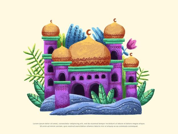 Kolorowy islamski projekt ilustracji