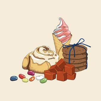 Kolorowy isoleted ręcznie rysowane zestaw słodyczy