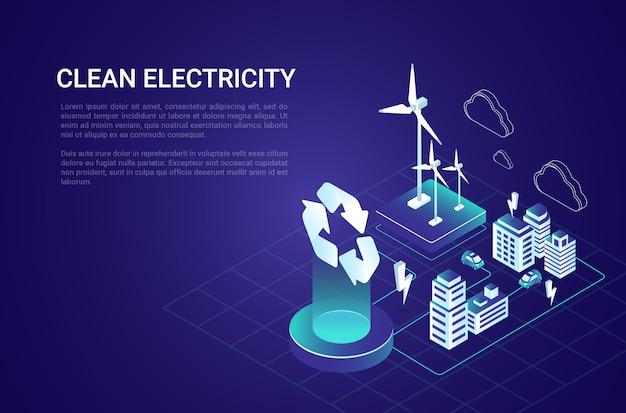 Kolorowy izolowany skład izometryczny energii elektrycznej z opisem wytwarzania energii elektrycznej.