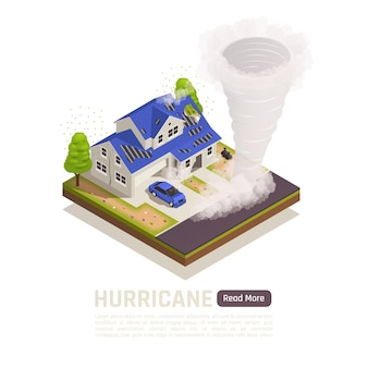 Kolorowy izometryczny baner składu klęski żywiołowej z opisem huraganu i czytaj więcej ilustracji przycisku,