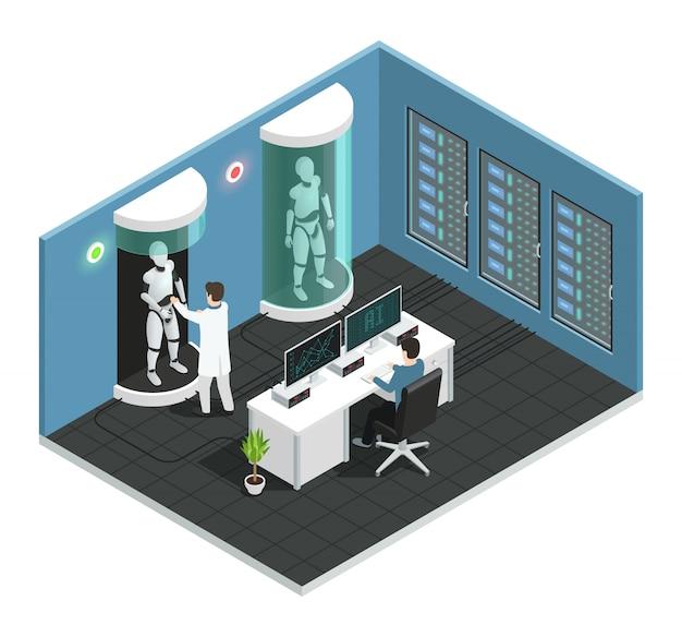 Kolorowy izometryczny skład realistycznej inteligencji sztucznej z laboratorium naukowym z naukowcem