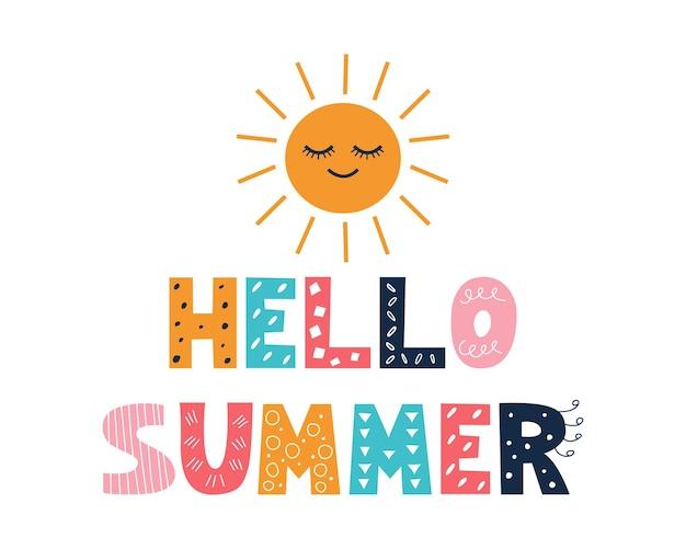Kolorowy jasny napis hello summer w stylu doodle na białym tle