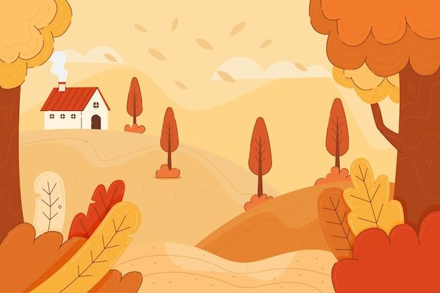 Kolorowy jesieni tło z krajobrazem