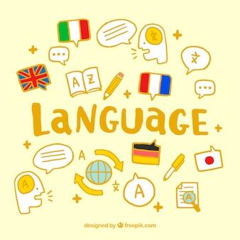 Kolorowy język koncepcja z ręcznie rysowane stylu