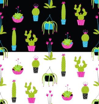 Kolorowy kaktus doniczkowy wzór na czarno-biały