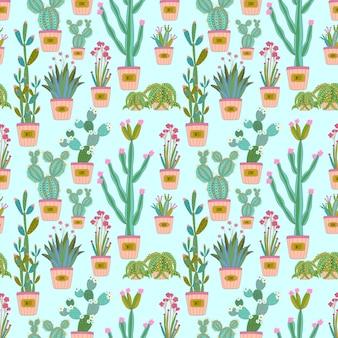 Kolorowy kaktus i soczysty bezszwowy wzór