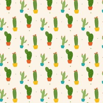 Kolorowy kaktus roślin z wzorem kwiatów