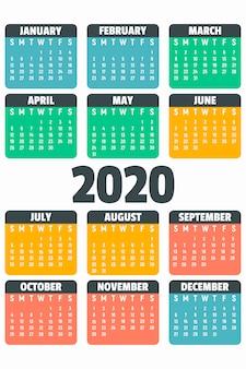 Kolorowy kalendarz 2020 roku, płaski
