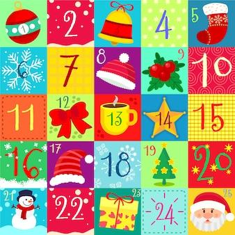 Kolorowy kalendarz adwentowy w płaskiej konstrukcji