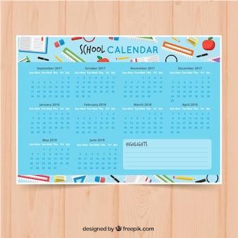 Kolorowy kalendarz szkolny z dostawami szkolnymi