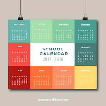 Kolorowy kalendarz szkoły z eleganckim stylem