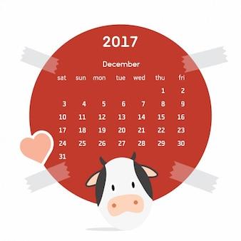 Kolorowy kalendarz z krową