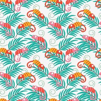 Kolorowy kameleon bezszwowy wzór.