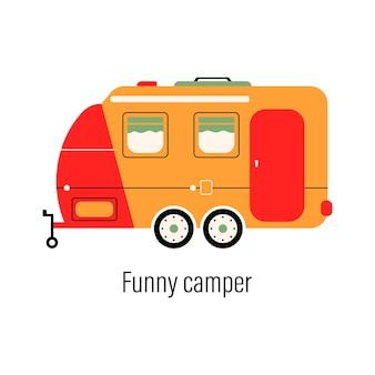 Kolorowy kamper. samochód rozrywkowy. przyczepa stacjonarna do rekreacji poza miastem i rekreacji na świeżym powietrzu.