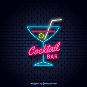 Kolorowy koktajl neon znak