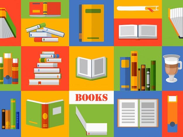 Kolorowy kolaż z książkami w stylu płaski