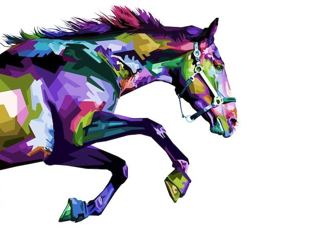 Kolorowy koń działa na białym tle na białym tle.