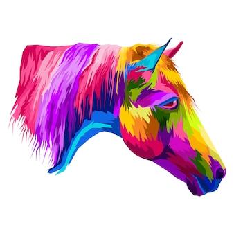 Kolorowy koń portretowy w stylu pop-art premium