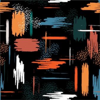 Kolorowy kontrast elementów obrysu pędzla wzór. współczesna dekoracja sztuki współczesnej.